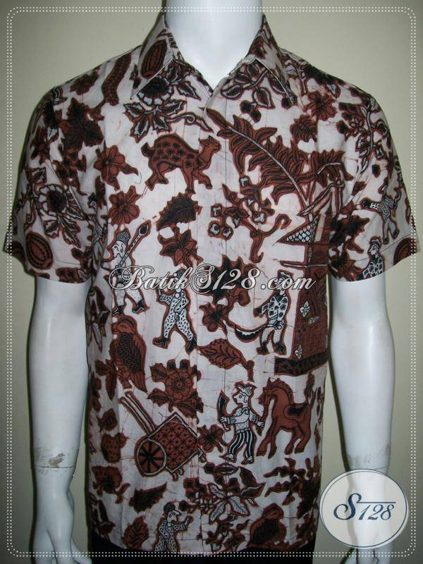 Batik Kumpeni, Kemeja Batik Unik, Lengan Pendek, Bahan Halus, Jahitan Bagus [LD755BT-M]