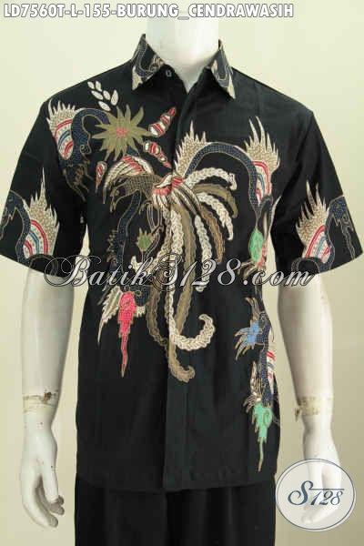 Kemeja Batik Halus Dara Hitam Model Lengan Pendek, Pakaian Istimewa Motif Burung Cendrawasih Proses Tulis Harga 150 Ribuan [LD7560T-L]