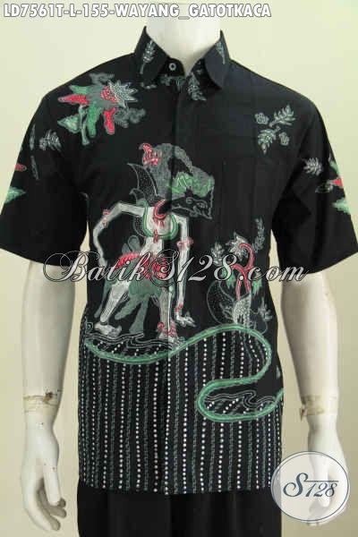 Hem Batik Wayang Terbaru, Kemeja Batik Modern Halus Proses Tulis Motif Gatotkaca, Cocok Untuk Seragam Kerja [LD7561T-L]
