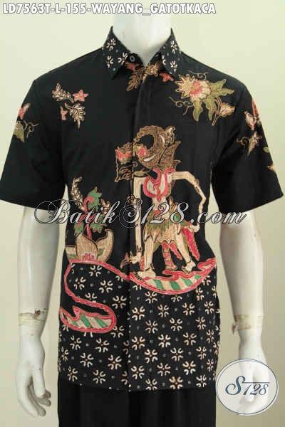 Baju Hem Batik Wayang Kwalitas Bagus Proses Tulis Model Lengan Pendek Bikin Pria Tampil Kekinian [LD7563T-L]