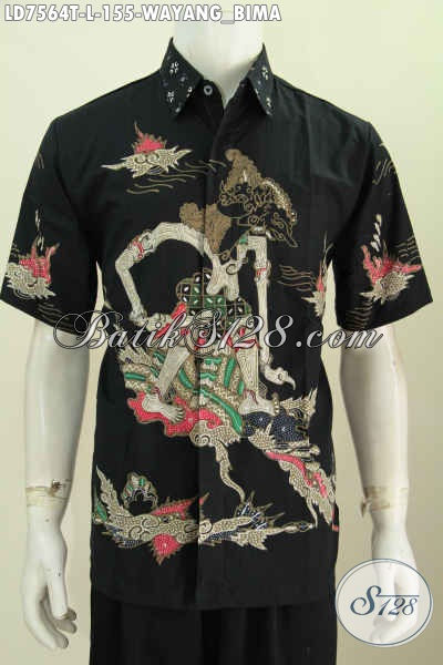 Baju Batik Lengan Pendek Keren Motif Wayang Bima, Busana Batik Cowok Kekinian Bahan Halus Proses Tulis Hanya 155K [LD7564T-L]