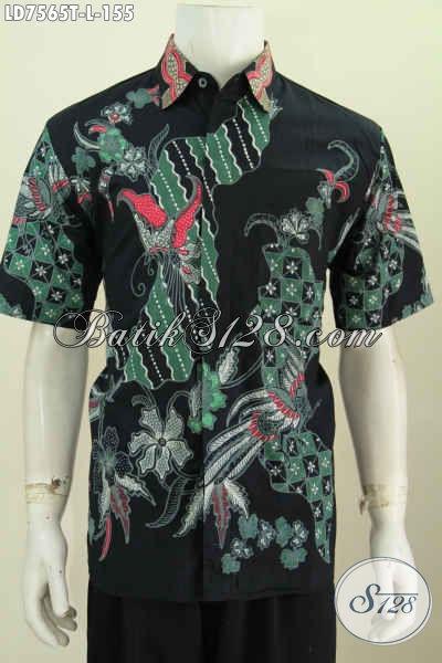 Hem Batik Motif Keren Buatan Solo, Produk Baju Batik Modis Lengan Pendek Proses Tulis Untuk Tampil Lebih Gaya [LD7565T-L]