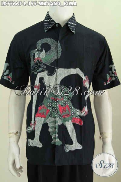 Baju Batik Wayang Di Jual Online, Hem Batik Lengan Pendek Motif Bima Untuk Pria Tampil Macho [LD7566T-L]