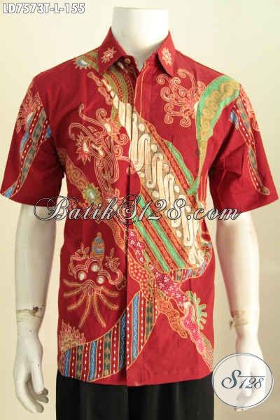 Pakaian Batik Cowok Warna Merah Motif Trendy Proses Tulis Bahan Adem Yang Nyaman Di Pakai, Model Lengan Pendek Size L [LD7573T-L]