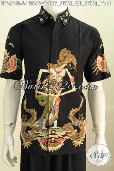 Kemeja Batik Warna Hitam Motif Dewi Sri, Baju Batik Tulis Lengan Pendek Yang Cocok Buat Santai Dan Acara Formal Tampil Lebih Tampan [LD7574T-L]