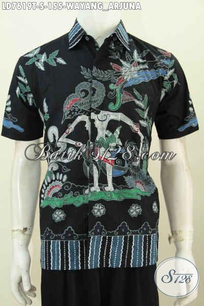 Hem Batik Wayang Motif Arjuna, Produk Baju Batik Lengan Pendek Pria Muda Proses Tulis Harga 100 Ribuan [LD7619T-S]