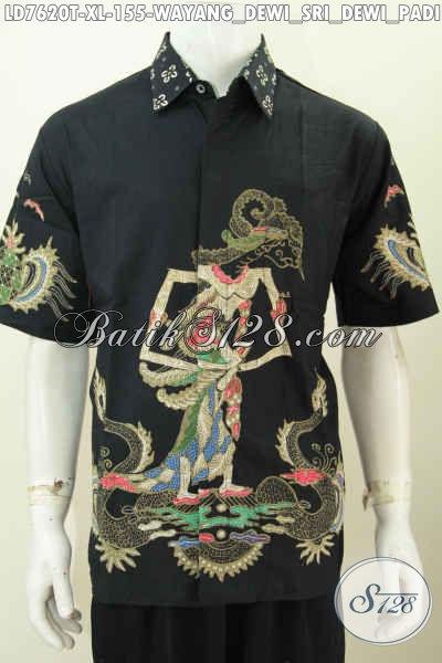 Hem Lengan Pendek Batik Tulis Motif Wayang Dewi Sri, Baju Batik Modis Pria Dewasa Tampil Mempesona [LD7620T-XL]