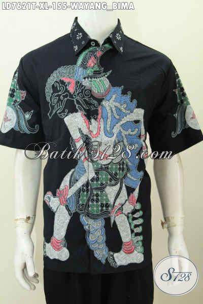 Pakaian Batik Jawa Halus Lengan Pendek Spesial Buat Pria Kantoran Tampil Keren Motif Wayang Bima Proses Tulis [LD7621T-XL]
