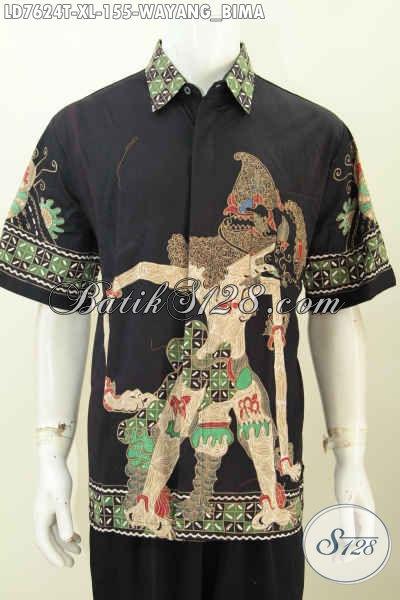 Sedia Pakaian Batik Pria Size XL, Baju Batik Pria Dewasa Lengan Pendek Motif Wayang Bima Harga 155K Proses Tulis Buatan Solo Asli [LD7624T-XL]