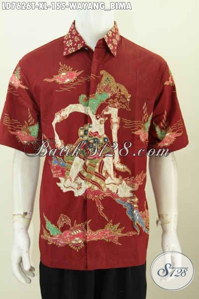 Baju Batik Santai, Hem Batik Keren Buat Kerja, Berbahan Halus Motif Wayang Bima Proses Tulis Hanya 150 Ribuan [LD7626T-XL]