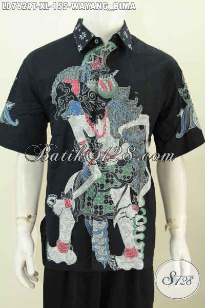Baju Batik Elegan Lengan Pendek, Hem Batik Modis Halus Proses Tulis Motif Wayang Bima, Cowok Terlihat Gagah Dan Tampan [LD7629T-XL]