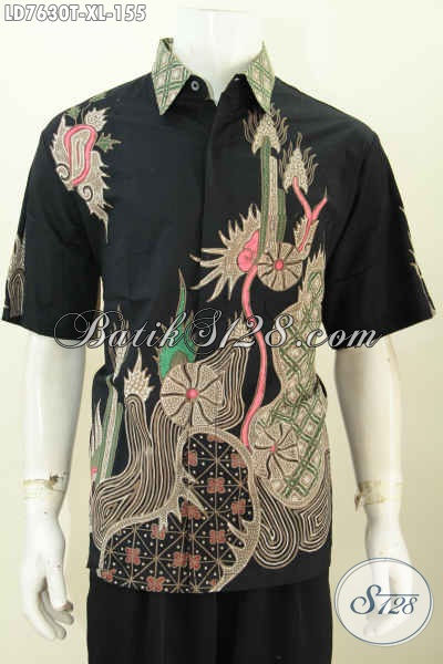 Sedia Busana Batik Trendy Dasar Hitam Model Lengan Pendek, Baju Batik Kwalitas Bagus Proses Tulis Untuk Penampilan Lebih Bergaya [LD7630T-XL]