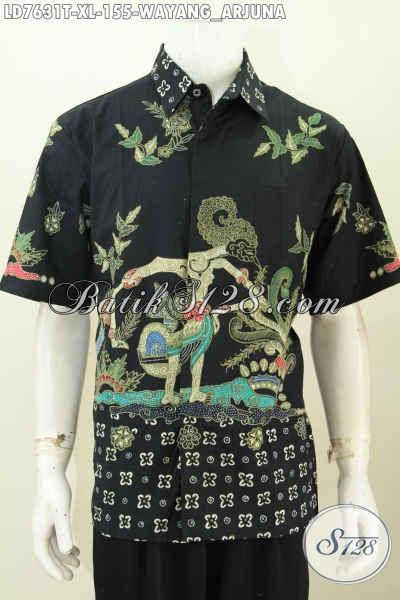 Jual Pakaian Batik Online, Busana Batik Cowok Terkini Kwalitas Bagus Model Lengan Pendek Motif Wayang Tampil Keren Dan Gaul [LD7631T-XL]