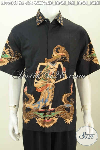 Busana Batik Elegan Warna Hitam Motif Wayang Dewi Sri, Berbahan Adem Model Lengan Pendek, Pas Banget Buat Seragam Kerja [LD7634T-XL]
