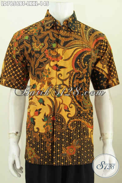 Baju Batik Jawa Halus Khas Solo, Kemeja Batik Klasik Lengan Pendek Proses Kombinasi Tulis harga 145 Ribu, Pas Buat Kerja [LD7656BT-XXL]
