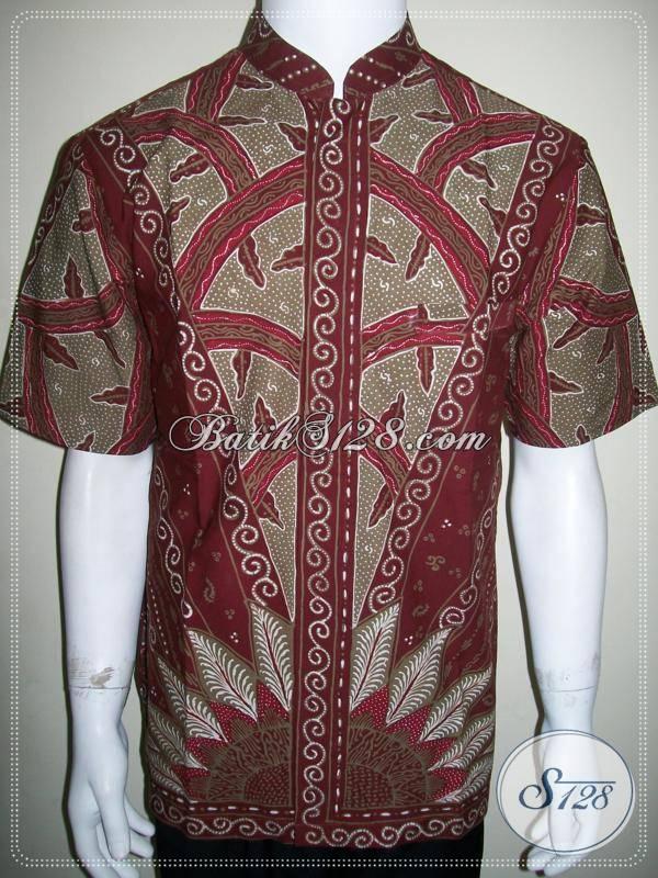 Baju Koko Batik Lengan Pendek Warna Merah Bahan Katun