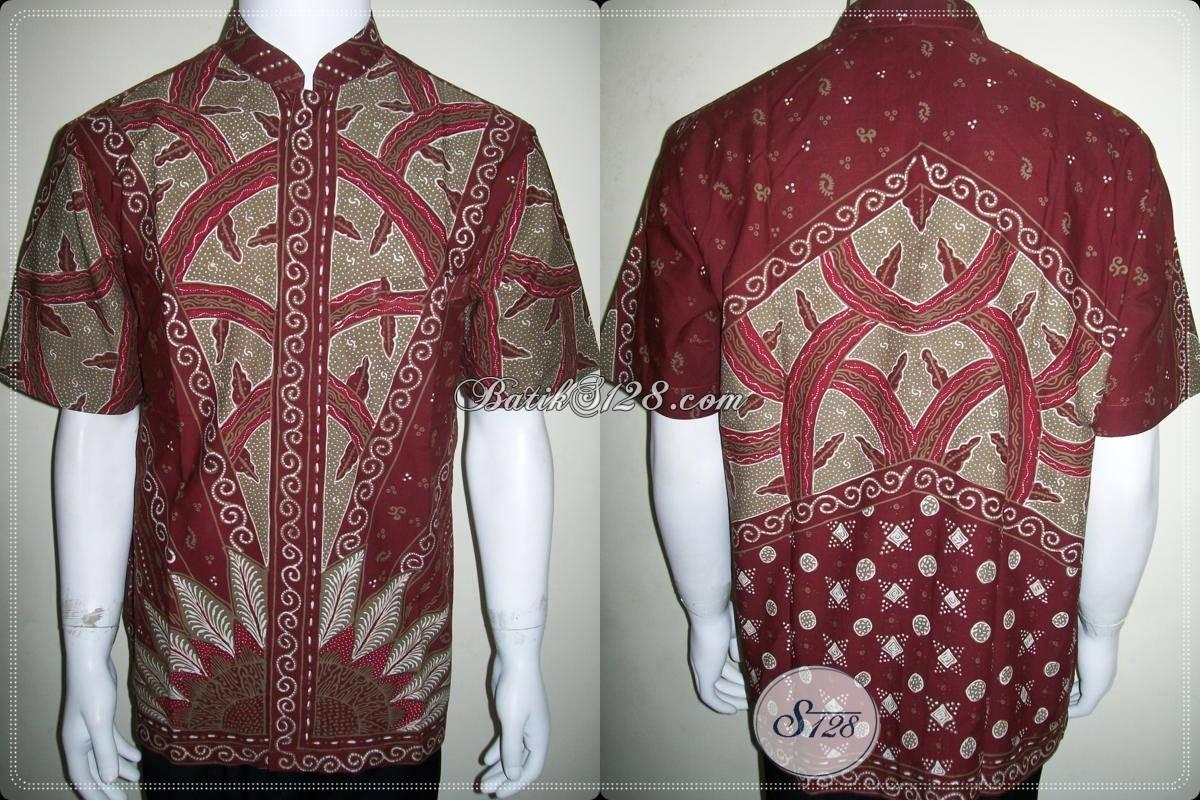 Baju Koko Batik Lengan Pendek Warna Merah Bahan Katun Halus Jahitan Bagus [LD765TK-L]