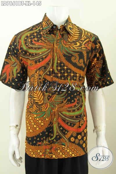 Baju Hem Batik Elegan Halus Kombinasi Tulis, Pakaian Batik Klasik Istimewa Untuk Pria Terlihat Istimewa Dan Mempesona [LD7661BT-XL]