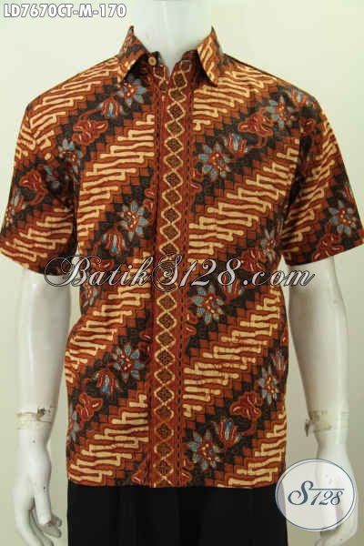 Baju Batik Parang Bunga, Kemeja Batik Elegan Dan Mewah Berbahan Halus Nyaman Di Pakai Proses Cap Tulis Model Lengan Pendek [LD7670CT-M]