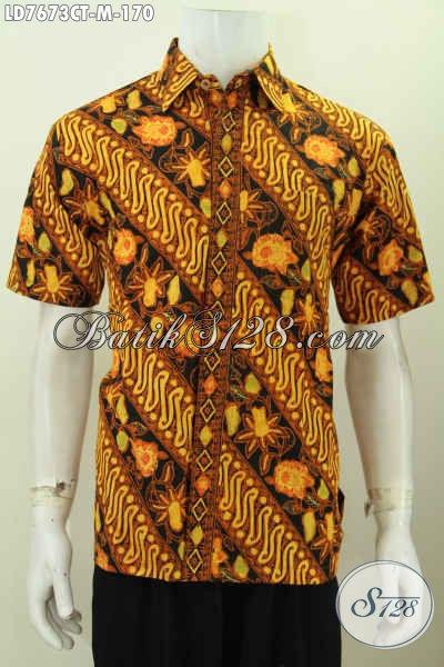 Hem Batik Kerja Desain Terkini, Baju Batik Solo Halus Motif Klasik Proses Cap Tulis Tampil Gaya Dan Tampan Model Lengan Pendek [LD7673CT-M]