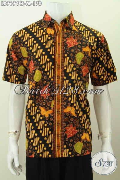Baju Batik Halus Keren Modelnya Asli Buatan Solo, Kemeja Batik Santai Dan Formal Lengan Pendek Proses Cap Tulis Hanya 100 Ribuan [LD7674CT-M]