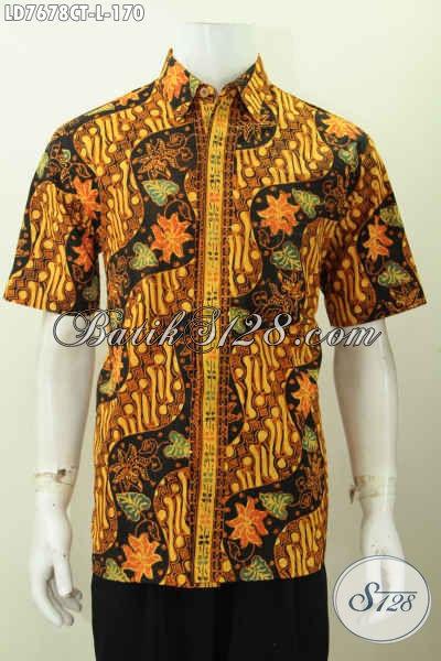 Hem Batik Kerja, Baju Batik Kondangan, Pakaian Batik Berkelas Bahan Halus Proses Cap Tulis Lengan Pendek Untuk Tampil Makin Gaya [LD7678CT-L]