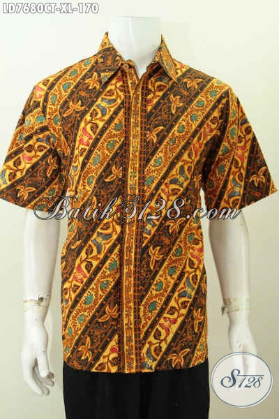 Baju Hem Batik Pria Dewasa, Kemeja Batik Solo Lengan Pendek Ukuran XL Proses Cap Tulis Motif Parang Buka Keren Abis