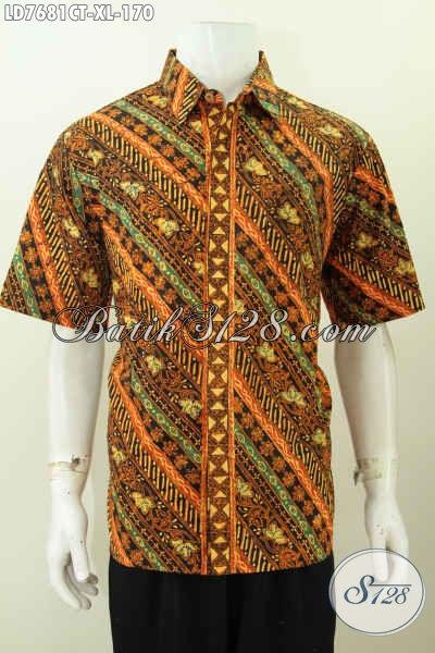 Jual Produk Kemeja Batik Modis Halus Elegan Kwalitas Istimewa, Pakaian Batik Kerja Lengan Pendek Buatan Solo Proses Cap Tulis Hanya 170 Ribu [LD7681CT-XL]