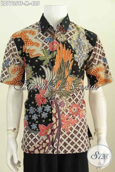 Pusat Baju Batik Online, Jual Kemeja Batik Pria Terkini Bahan Istimewa Motif Mewah Proses Tulis Model Lengan Pendek Full Furing 425K [LD7735TF-M]