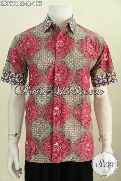 Hem Batik Trendy, Busana Batik Solo Keren Motif Bagus Proses Cap Tulis Model Lengan Pendek Hanya 175K, Tampil Lebih Fresh [LD7736CT-M]