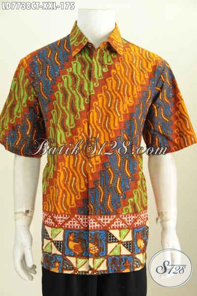 Batik Hem Jumbo Lengan Pendek, Baju Batik Pria Motif Keren Klasik Dan Berkelas Proses Cap Tulis Untuk Penampilan Makin Istimewa [LD7738CT-XXL]