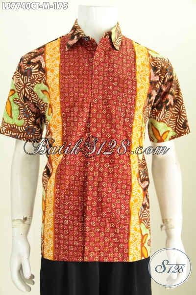 Busana Batik Jawa Tengah Istimewa, Kemeja Batik Lengan Pendek Berbahan Halus Proses Cap Tulis 100 Ribuan [LD7740CT-M]