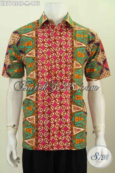 Baju Hem Batik Lengan Pendek Modern Kwalitas Istimewa Untuk Santai Dan Formal Proses Cap Tulis Cocok Untuk Kerja [LD7742CT-M]
