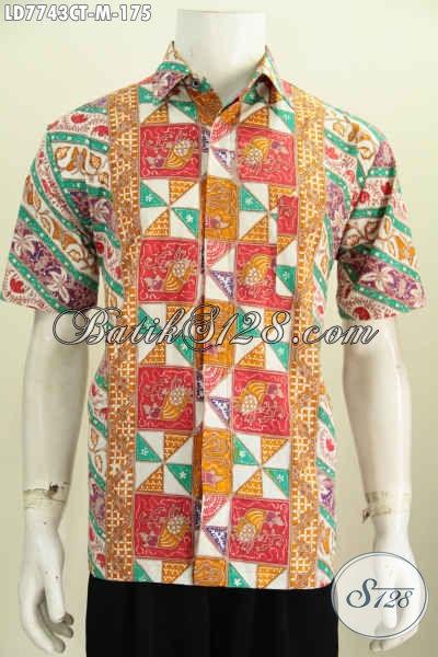 Baju Kemeja Batik Buatan Solo, Produk Batik Pria Terkini Modis Untuk Santai Dan Resmi, Bahan Halus Proses Cap Tulis Hanya 100 Ribuan [LD7743CT-M]