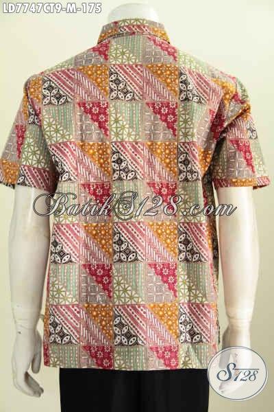 Baju Kemeja Batik Solo Halus Lengan Pendek Proses Cap Tulis Bahan Adem Untuk Kerja Dan Acara Santai [LD7747CT-M]