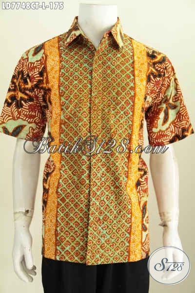 Baju Hem Batik Kekinian, Pakaian Batik Lengan Pendek Modern Halus Proses Cap Tulis Untuk Tampil Makin Gagah [LD7748CT-L]
