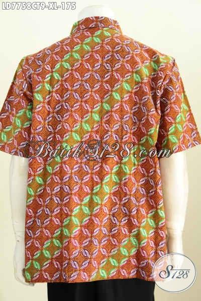 Baju Hem Batik Solo Di Jual Online, Kemeja Batik Pria Terkini Model Lengan Pendek Motif Kombinasi Proses Cap Tulis Hanya 175K [LD7758CT-XL]