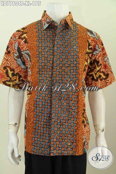 Jual Kemeja Batik Kerja Pria Dewasa, Pakaian Batik Solo Halus Proses Cap Tulis Motif Kombinasi Tampil Lebih Gagah Dan Trendy, Size XL