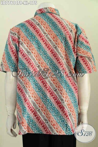 Baju Hem Motif Keren Berkelas Model Lengan Pendek, Pakaian Batik Istimewa Buatan Solo Untuk Pria Dewasa Terlihat Muda Dan Gaya [LD7761CT-XL]