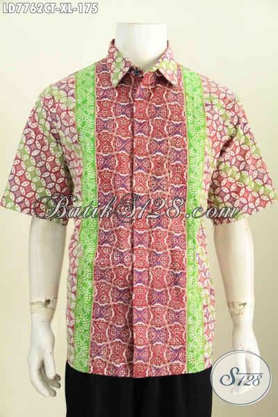 Jual Batik Hem Lengan Pendek Istimewa, Pakaian Batik Cowok Size XL Bahan Halus Motif Terkini Proses Cap Tulis Harga 175K [LD7762CT-XL]