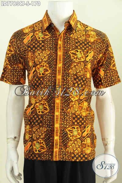 Hem Batik Modis Warna Elegan, Pakaian Batik Jawa Tengah Untuk Lelaki Muda Proses Cap Tulis, Tampil Gagah Berwibawa [LD7763CT-S]