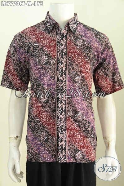 Hem Batik Pria Muda, Kemeja Batik Halus Keren Istimewa Lengan Pendek Size M, Cocok UntukKerja Dan Jalan-Jalan [LD7770CT-M]