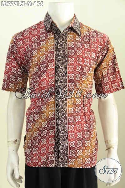 Baju Batik Keren Pria Tampil Kece, Busana Batik Soo Halus Cap Tulis Lengan Pendek Harga 100 Ribuan, Size M