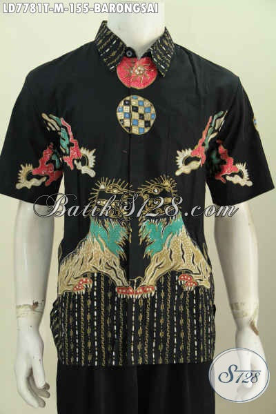 Hem Batik Elegan Lengan Pendek Motif Barongsai, Busana Batik Halus Proses Tulis Di Jual Online 155K [LD7781T-M]