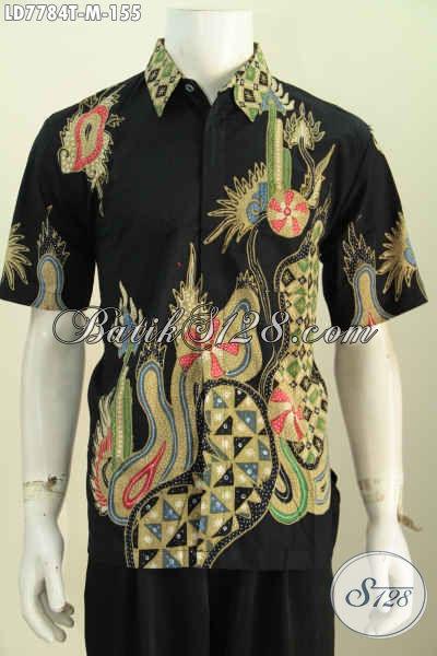 Baju Hem Batik Solo Modis Dan Halus, Pakaian Batik Masa Kini Model Lengan Pendek Untuk Tampil Gagah Dan Gaya [LD7784T-M]