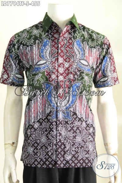 Pakaian Batik Kerja Pria Muda, Hem Batik Halus Kwalitas Premium Harga 455K Lengan Pendek Full Furing [LD7794TF-S]