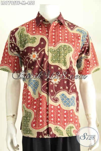 Baju Batik Modis Keren Istimewa Pake Furing, Kemeja Lengan Pendek Premium Proses Tulis Harga 455 Ribu [LD7795TF-M]