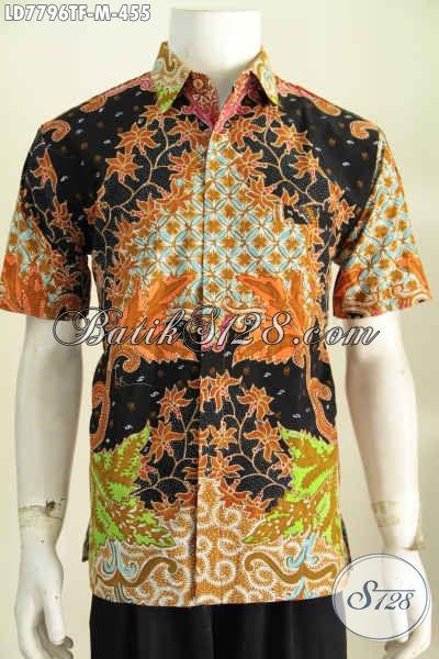 Kemeja Batik Keren Yang Bikin Pria Terlihat Istimewa, Baju Batik Lengan Pendek Full Furing Buatan Solo Harga 400 Ribuan [LD7796TF-M]