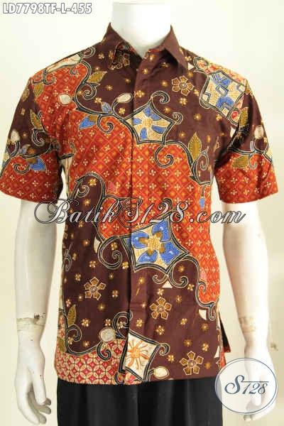 Baju Batik Seragam Kerja Modis Keren Mewah Lengan Pendek Full Furing Proses Tulis, Modis Juga Untuk Jalan-Jalan [LD7798TF-L]