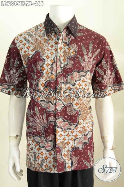 Pusat Upgrade Fashion Batik Online, Sedia Kemeja BatikPria Premium Lengan Pendek Full Furing Motif Tulis Harga 400 Ribuan [LD7803TF-XL]